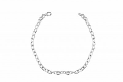 Mens Solid Oval Link Necklace