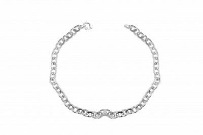 Mens Solid Round Link Necklace