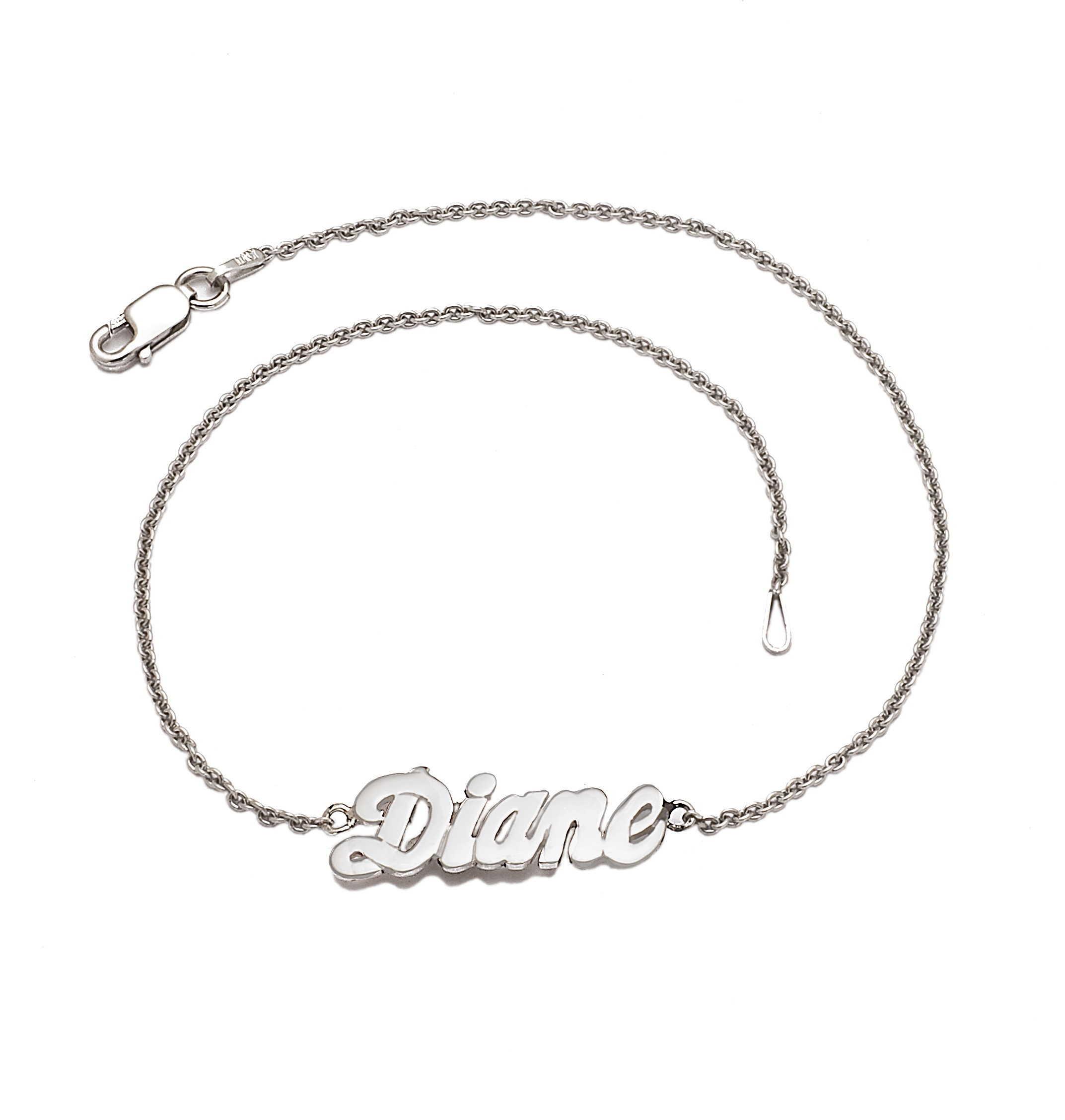 name bracelet jewellery anklet personalised uk sterling any amazon silver with co dp