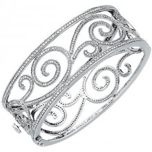 5 1/8 ct tw Diamond Scroll Bangle Bracelet