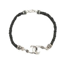 Sterling Silver And Genuine Braided Leather Small Circle Hook Anklet