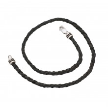 Genuine Braided Leather And Sterling Silver Necklace