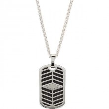 "Reversible Dog Tag Pendant with Black Enamel on 20"" Wheat Chain"
