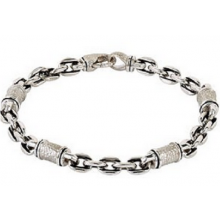 Men's Link Bracelet with Hammer Finish