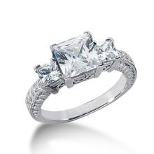 Three Stones Princess Engagement Rings