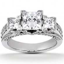Three Stones Princess Engagement Rings