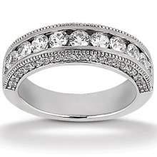 Round Channel Set Wedding Bands